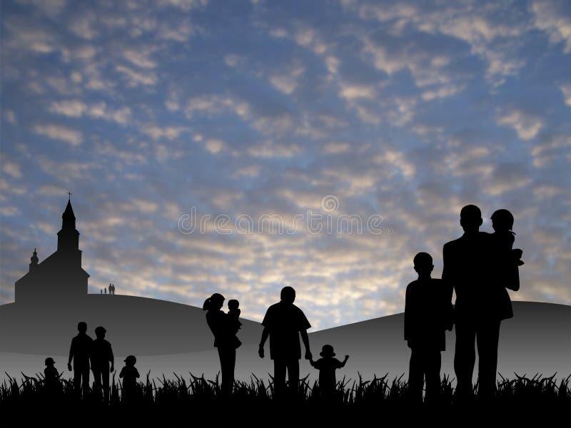 Jonge mensen met kinderen die naar kerk gaan vector illustratie