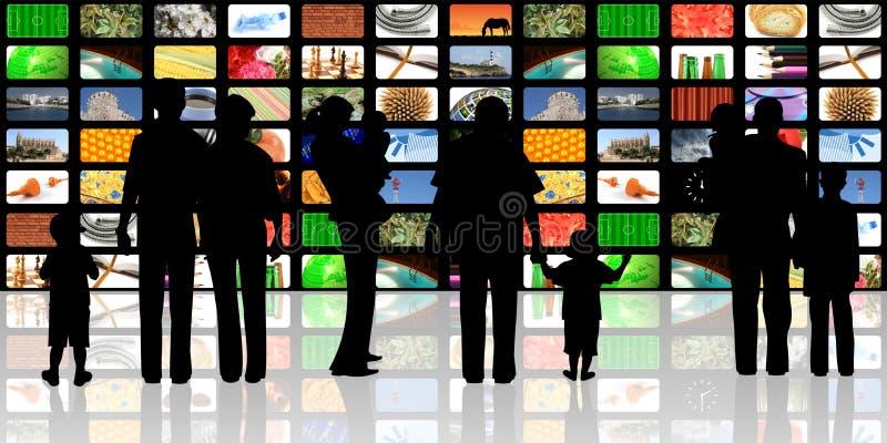 Jonge mensen met kinderen die op televisie letten vector illustratie