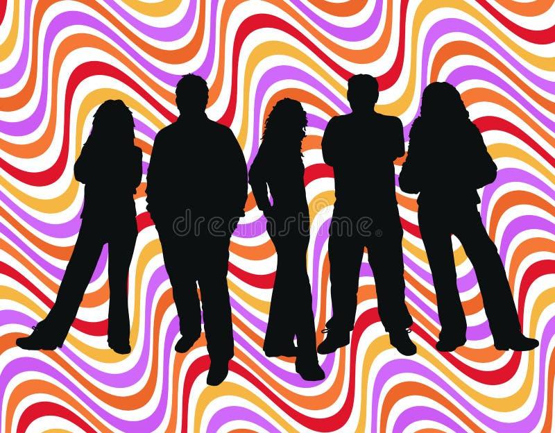 Jonge mensen op retro achtergrond vector illustratie