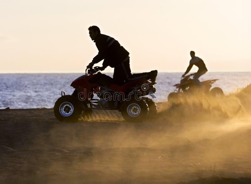 Jonge mensen op vierlingfietsen op zandig strand tijdens zonsondergang royalty-vrije stock afbeelding