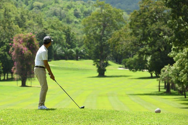 Jonge mensen speelgolf op een mooie natuurlijke golfcursus stock fotografie