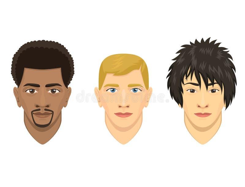 Jonge mensenavatar van het het portretbeeldverhaal van het karakter mannelijke gezicht de persoons vectorillustratie stock illustratie