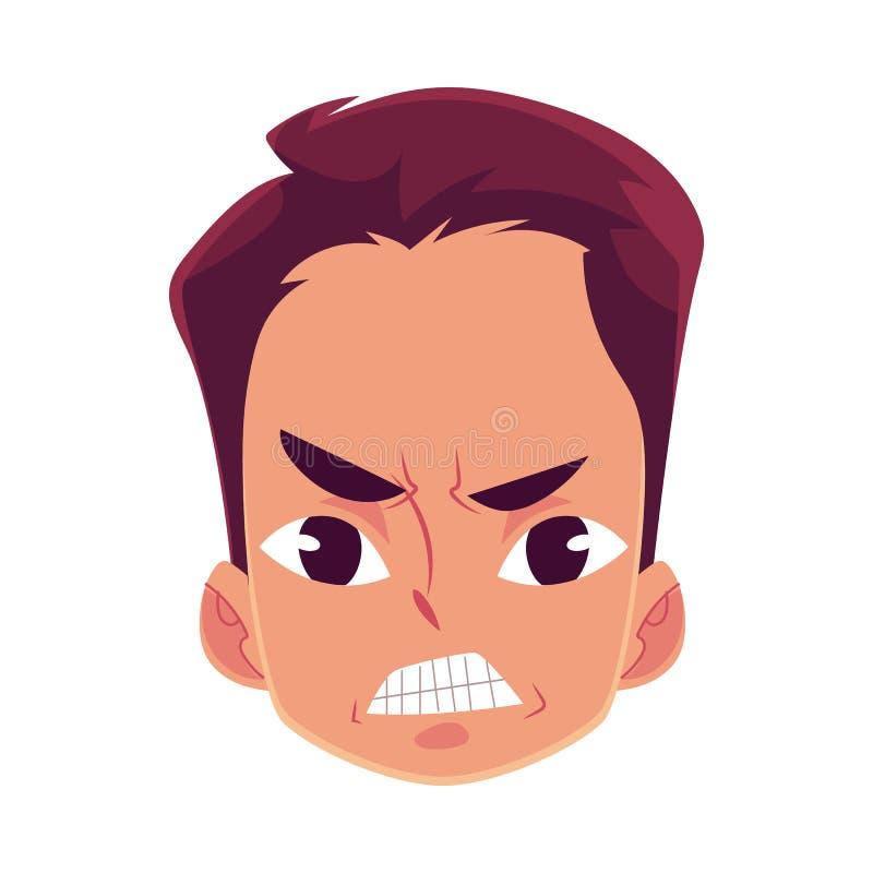 Jonge mensengezicht, boze gelaatsuitdrukking vector illustratie