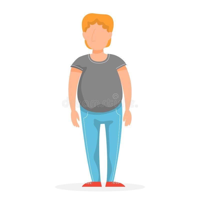 Jonge mensenkarakter Vette volwassen kerel in vrijetijdskleding stock illustratie