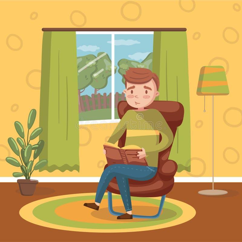 Jonge mensenzitting op de stoel en lezing een boek, het huis vectorillustratie van de ruimte binnenlandse uitstekende stijl royalty-vrije illustratie