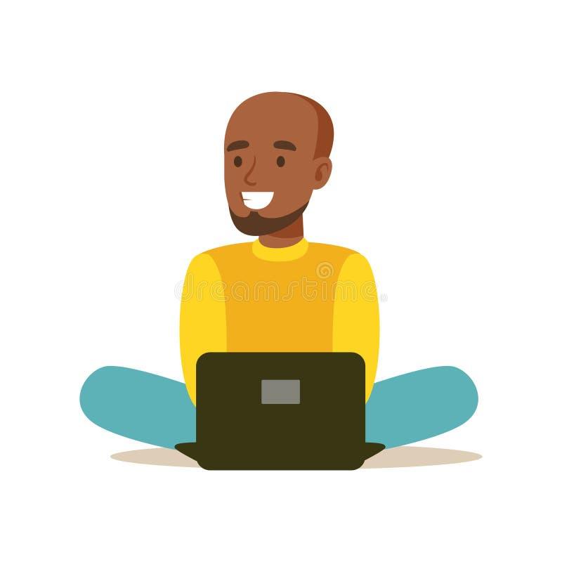 Jonge mensenzitting op de vloer en het gebruiken van laptop Kleurrijke karakter vectorillustratie stock illustratie