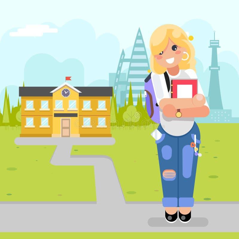 Jonge moderne de manierboek van het studenten gaat het leuke meisje naar de universitaire vectorillustratie van het cursussen vla royalty-vrije illustratie
