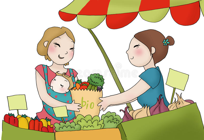 Jonge moeder bij de markt stock illustratie