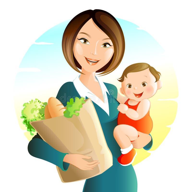 Jonge moeder met baby royalty-vrije illustratie