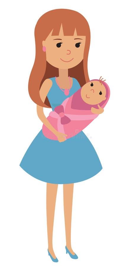 Jonge moeder met een pasgeboren baby in haar die wapens, in een deken worden verpakt Vectorillustratie van een vrouw met een pasg stock illustratie