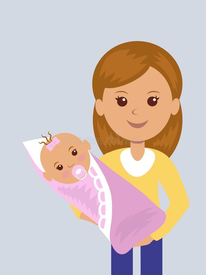 Jonge moeder met een pasgeboren baby in haar wapens vector illustratie