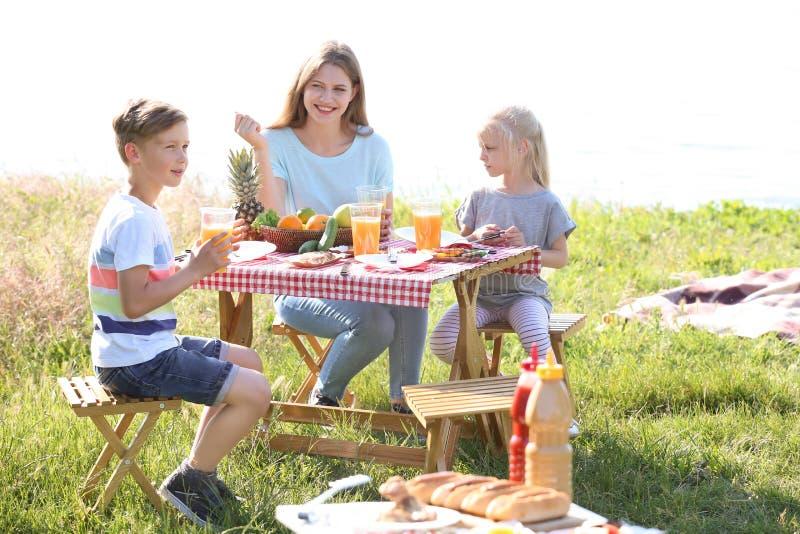 Jonge moeder met kleine kinderen op picknick in openlucht royalty-vrije stock foto's