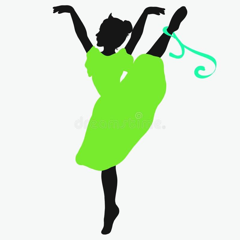 Jonge mooie ballerina, die zich op tenen bevinden stock illustratie