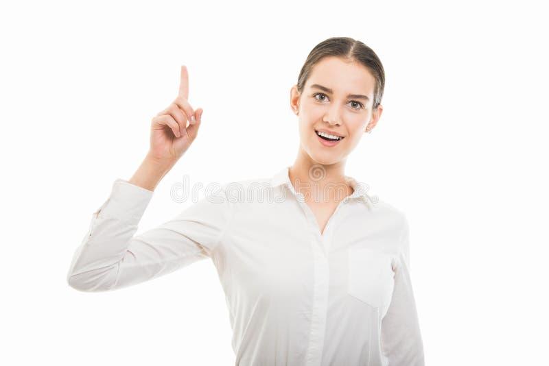 Jonge mooie bedrijfsvrouw die gekregen ideegebaar tonen stock afbeeldingen