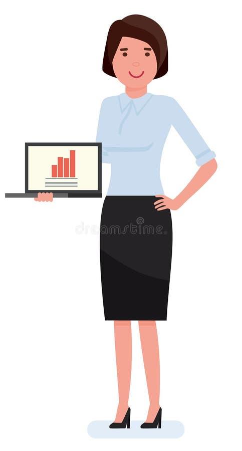 Jonge mooie bedrijfsvrouw met notitieboekje Illustratie van het beeldverhaal de vlakke vectorkarakter royalty-vrije illustratie