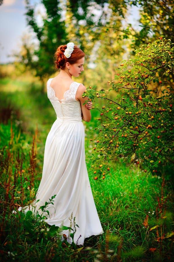 Jonge mooie blondevrouw in bloeiende tuin Bruid stock foto