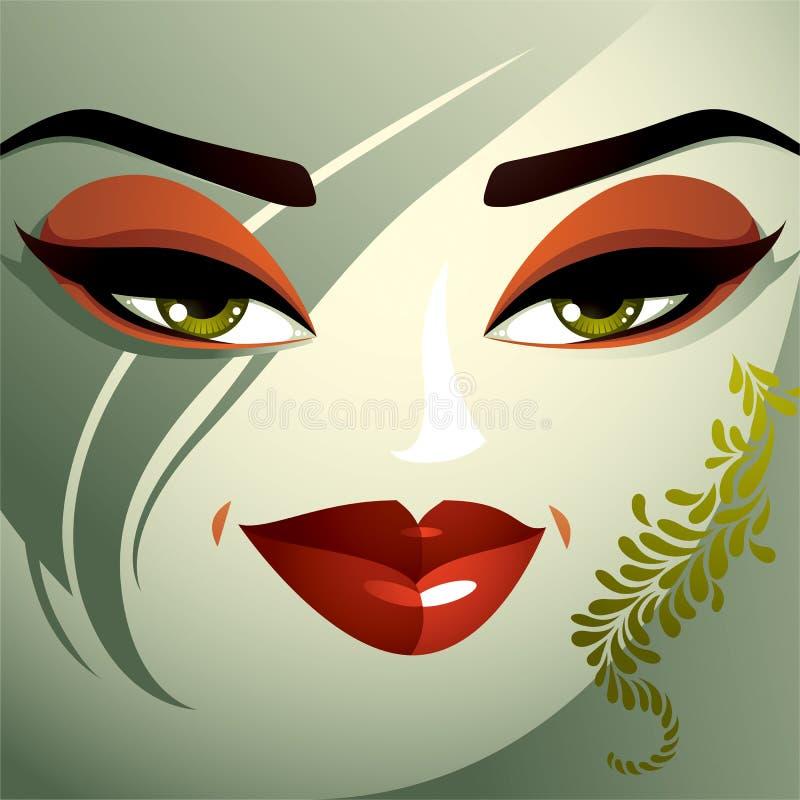 Jonge mooie dame met modieus kapsel menselijk stock illustratie