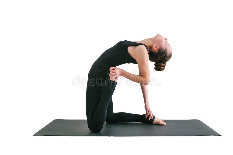 Jonge mooie die vrouw het praktizeren yoga en gymnastiek- op witte achtergrond wordt geïsoleerd Wellnessconcept Klassen in enig royalty-vrije stock foto