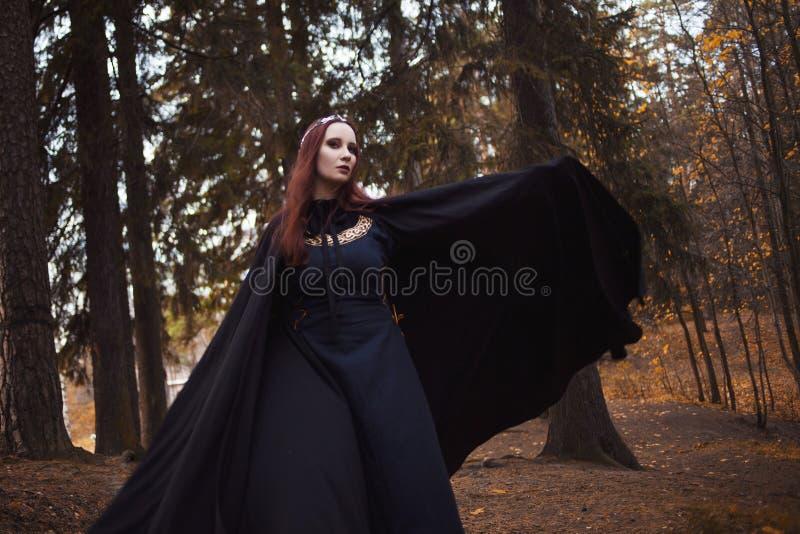 Jonge mooie en geheimzinnige vrouw in hout, in zwarte mantel met kap, beeld van boself of heks stock fotografie
