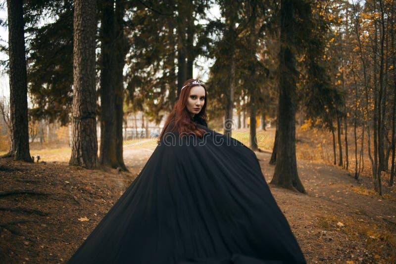 Jonge mooie en geheimzinnige vrouw in hout, in zwarte mantel met kap, beeld van boself of heks stock foto's