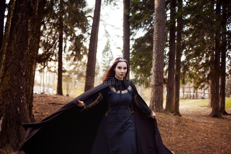 Jonge mooie en geheimzinnige vrouw in hout, in zwarte mantel met kap, beeld van boself of heks royalty-vrije stock fotografie