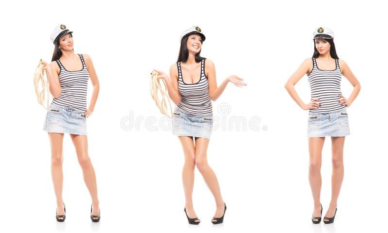 Jonge, mooie en sexy zeemansmeisjes stock afbeeldingen