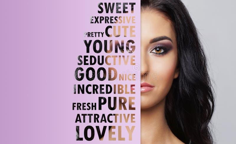 Jonge, mooie en verse vrouw in plastische chirurgie, schoonheid en schoonheidsmiddelen en geneeskundeconcept royalty-vrije stock foto