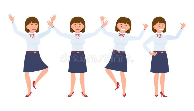 Jonge, mooie, gelukkige bureauvrouw die, bevindende handen, hebbend pret omhoog springen vector illustratie