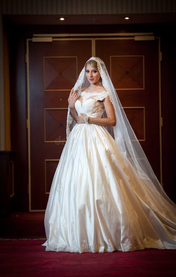 Jonge mooie luxueuze vrouw in huwelijkskleding het stellen in luxueuze binnenlands Schitterende elegante bruid met lange sluier V stock foto