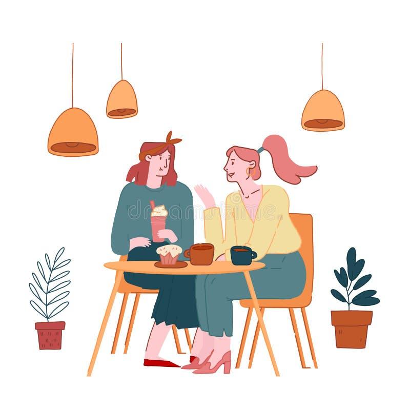 Jonge Mooie meisjes in Cafe Chatting, het vertellen Gossip en het Nieuws aan elkaar, de Vergadering van GirlVrienden en Versoepel stock illustratie
