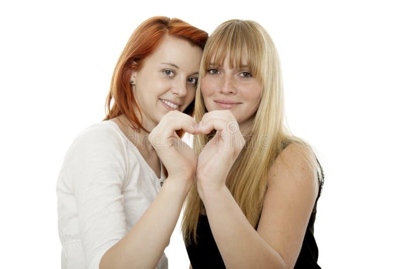 Jonge mooie rode en blonde haired meisjes stock fotografie