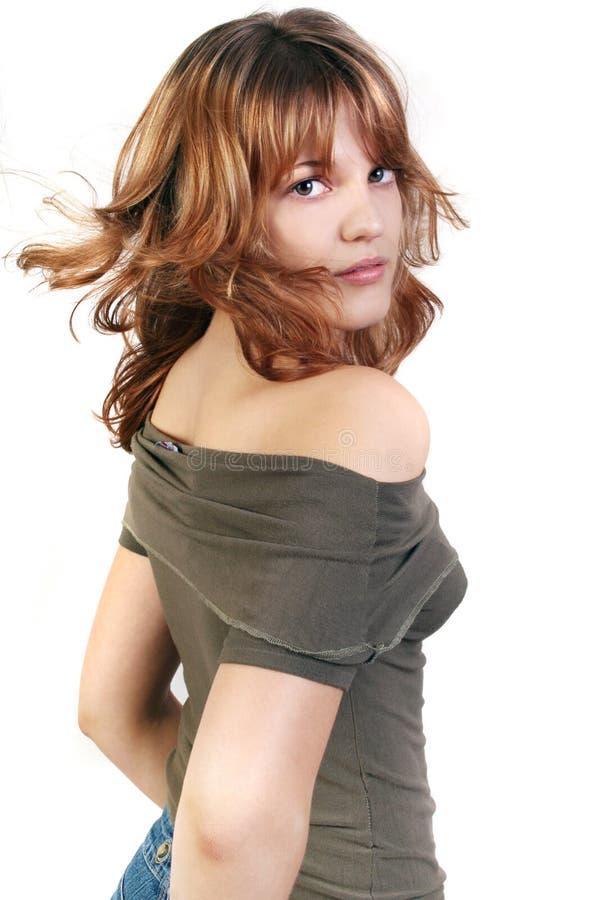 Jonge mooie sexy donkerbruine vrouw op het wit stock afbeeldingen