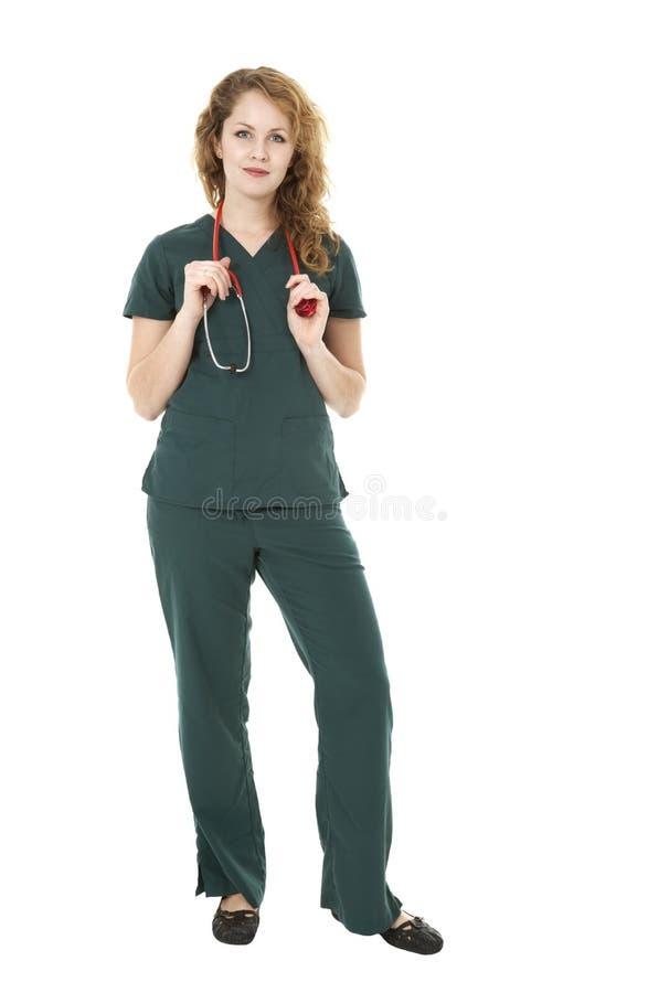Jonge Mooie Verpleegster op Wit royalty-vrije stock foto