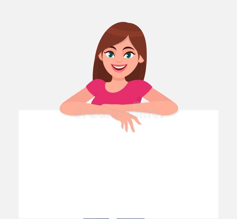 Jonge mooie vrouw die en een leeg/leeg blad van Witboek of raad glimlachen houden Vrouw die een lege affiche tonen stock illustratie