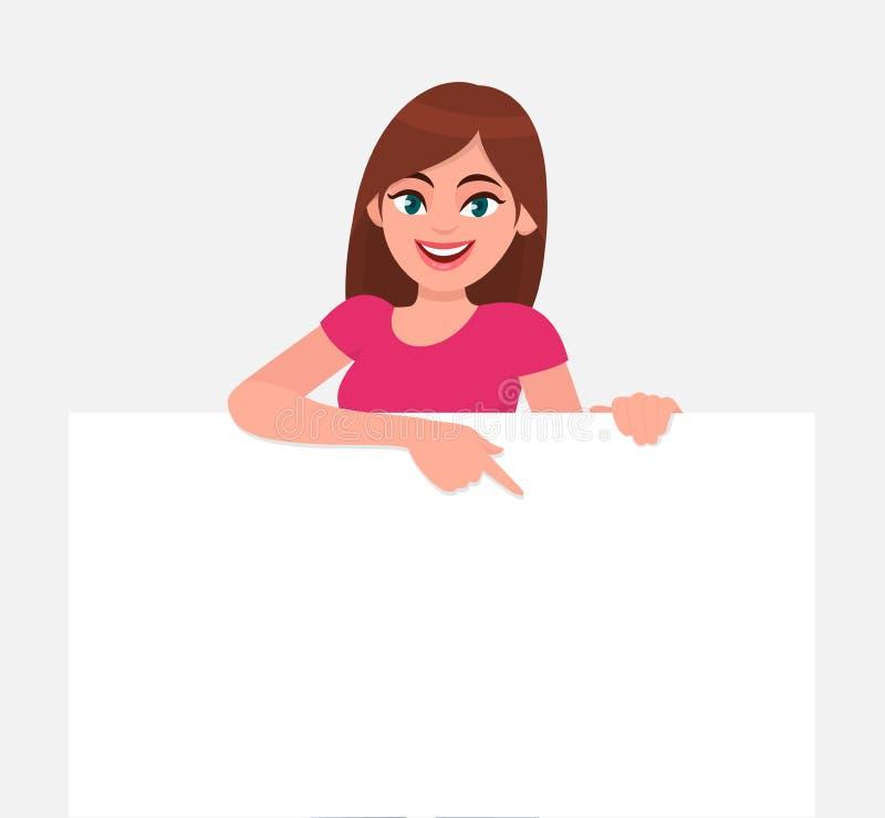 Jonge mooie vrouw die en een leeg/leeg blad van Witboek of raad glimlachen houden en met wijsvinger richten stock illustratie