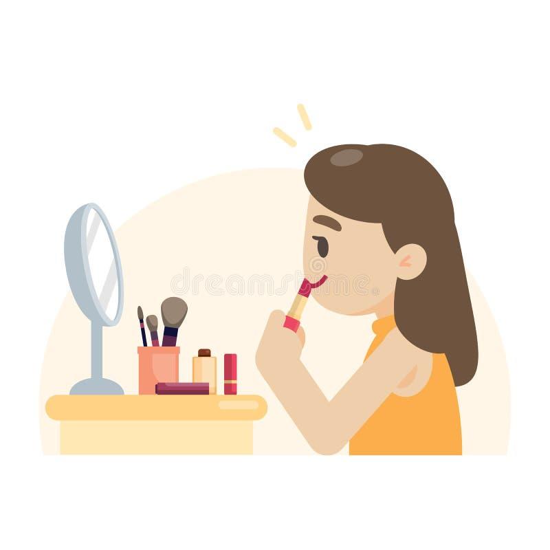 Jonge mooie vrouw die make-up maken die haar lippen, zieke vector rouging royalty-vrije illustratie