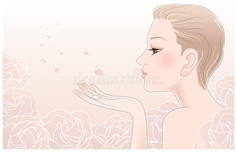 Jonge mooie vrouw die op bloemblaadjes van rozen blaast vector illustratie