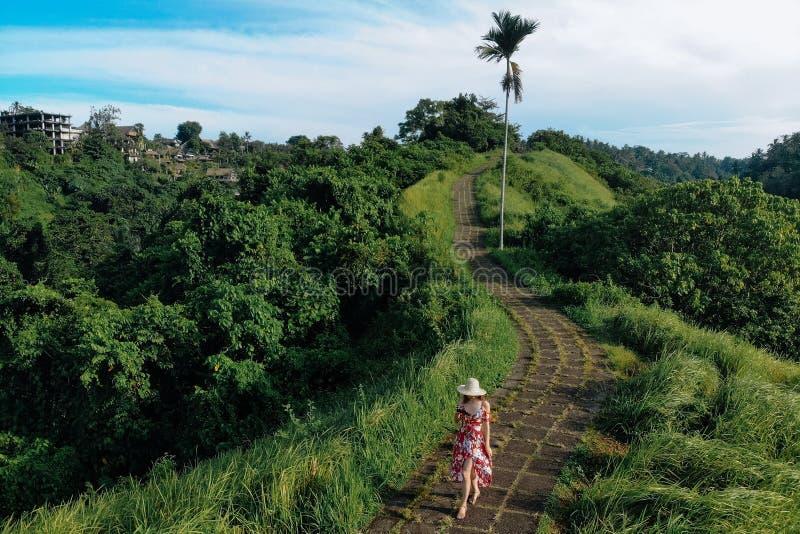 Jonge, mooie vrouw die op Campuhan Ridge loopt, op de manier van kunstenaars, in Bali, Ubud Mooie, kalme zonnige ochtend royalty-vrije stock afbeeldingen