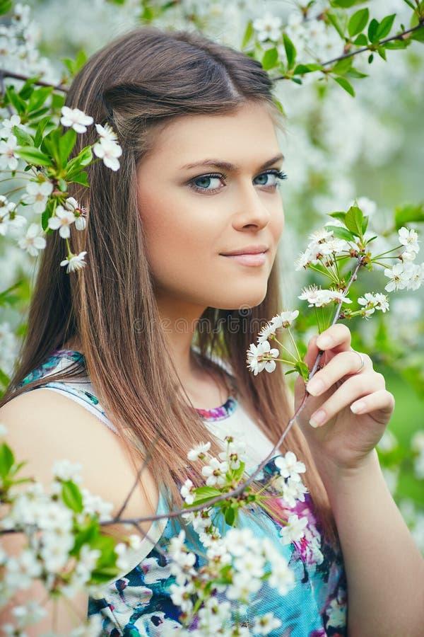 Jonge mooie vrouw die van geur van bloeiende boom op een zonnige dag genieten stock foto