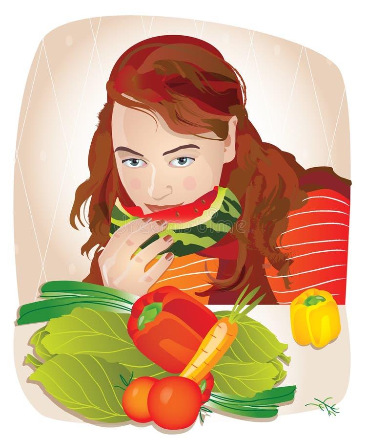 Jonge mooie vrouw die vruchten en groenten eten stock illustratie