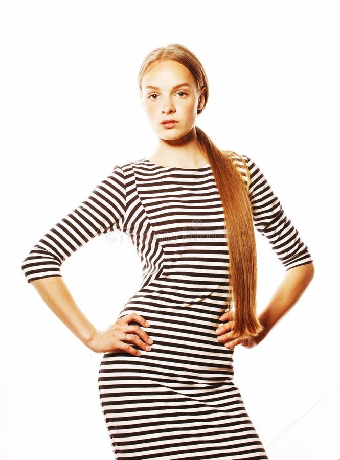 Jonge mooie vrouw in elegante die strookkleding op wit wordt geïsoleerd stock foto's