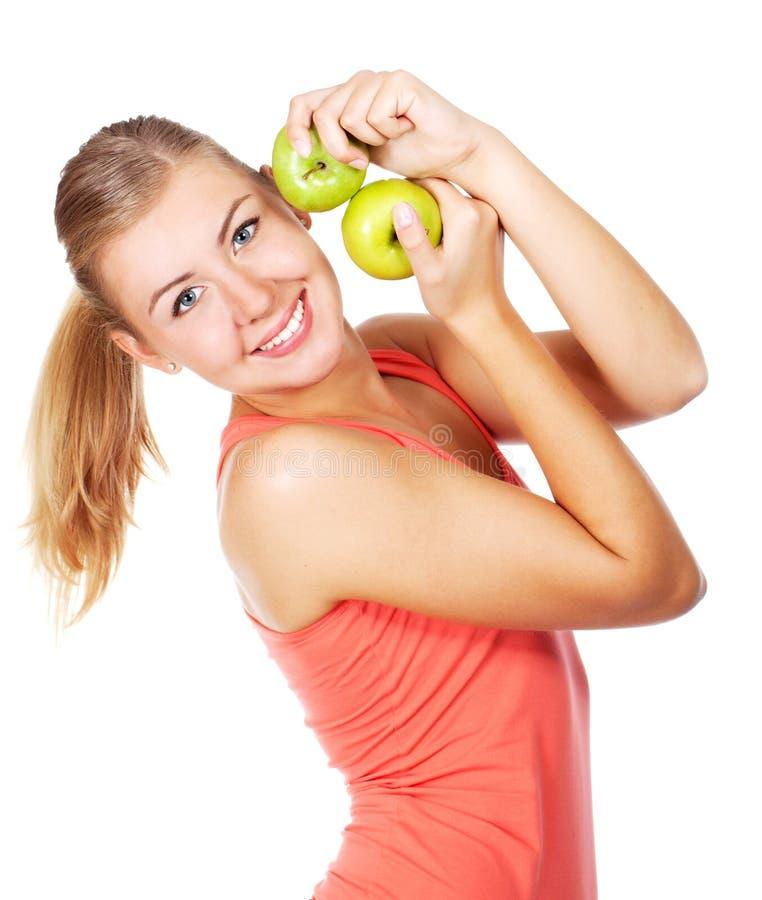 Jonge mooie vrouw met appelen royalty-vrije stock afbeeldingen