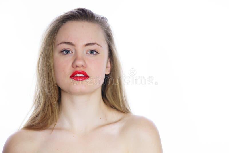 Jonge mooie vrouw met naakte schouders royalty-vrije stock afbeelding