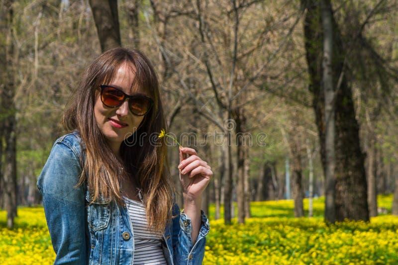 Jonge mooie vrouw op het gele gebied in Centraal park in Alm stock foto