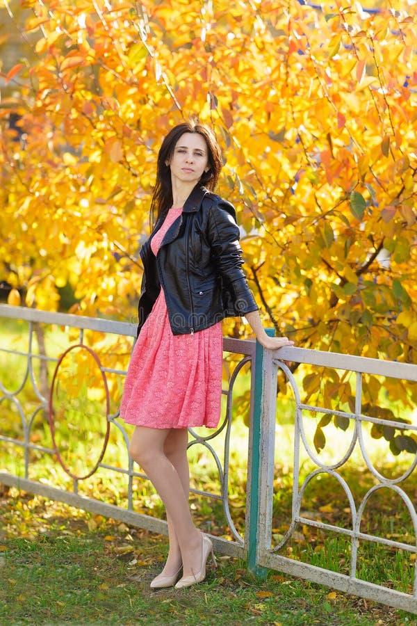 Jonge mooie vrouw in roze kleding die zich op de achtergrond van gele bomen in de herfstpark bevinden royalty-vrije stock afbeelding