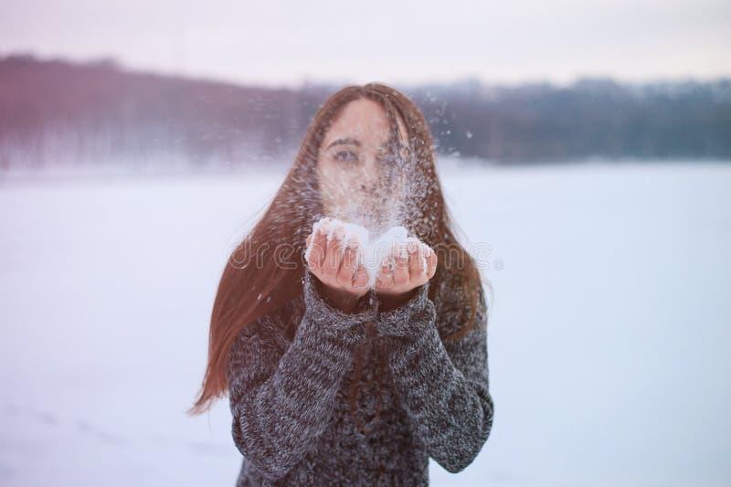 Jonge mooie vrouwen blazende sneeuw in de winterpark stock afbeelding