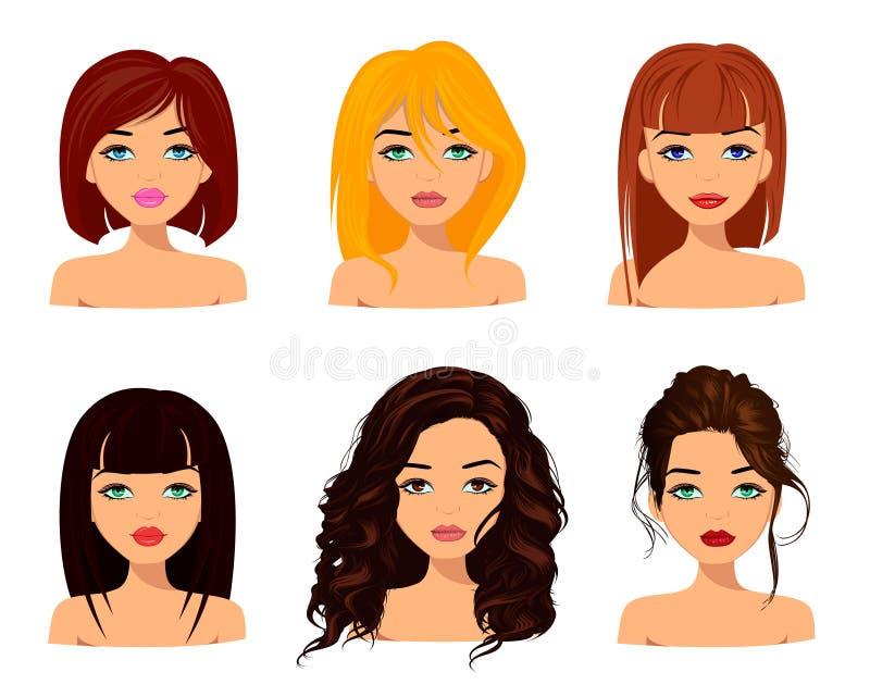 Jonge mooie vrouwen met leuke gezichten, modieuze kapsels en mooie ogen royalty-vrije illustratie