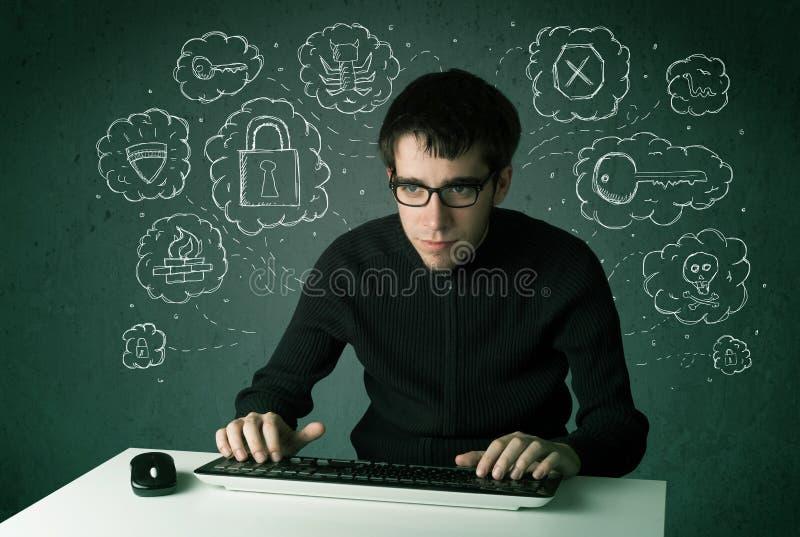 Jonge nerdhakker met virus en het binnendringen in een beveiligd computersysteem gedachten stock afbeeldingen