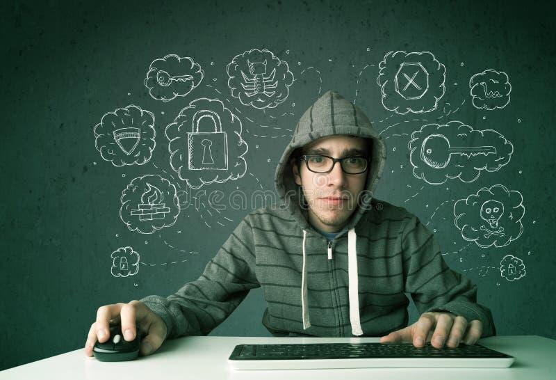 Jonge nerdhakker met virus en het binnendringen in een beveiligd computersysteem gedachten stock afbeelding