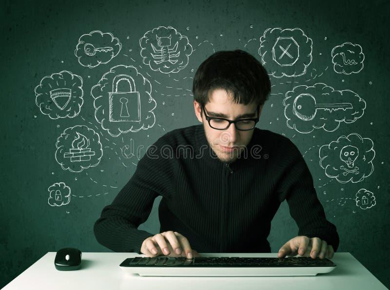Jonge nerdhakker met virus en het binnendringen in een beveiligd computersysteem gedachten royalty-vrije stock afbeeldingen